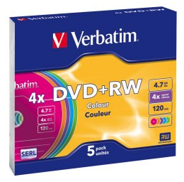 Płyta DVD+RW SLIM Color 4.7GB x4 Verbatim