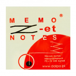 "Notes ""Z-et"" 75x75mm, 100 kartek, żółty Dalpo"